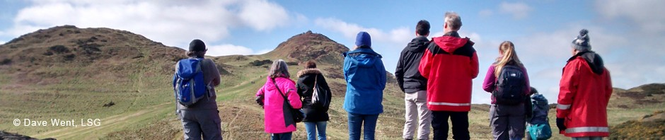 LSG members looking towards Arthur's Seat, Edinburgh